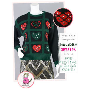 Vintage Ugly Christmas Hearts Sweater Petite Small